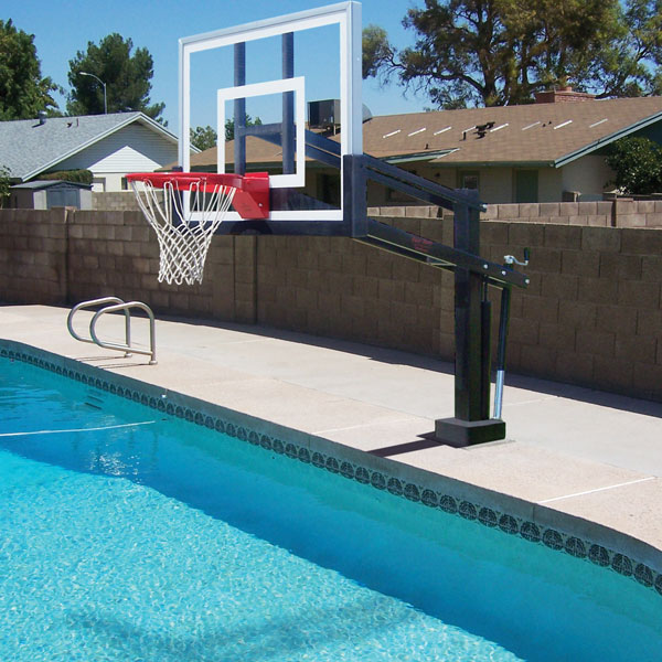 Hydroshot stainless steel poolside basketball goal first team inc - Pool basketball ...